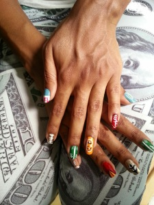 My NFL themed nails placed on my Money leggings. Image Credit: Kasia Campbell