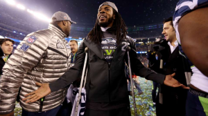 Richard Sherman after Seahawks win at Super Bowl XLVIII. Image credit: Jeff Gross/Getty Images North America